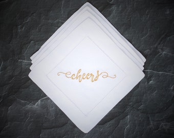 Cheers Cocktail Napkins, Custom Cocktail Napkins, Housewarming Gift, Hostess Gift, Wedding Gift, Anniversary Gift