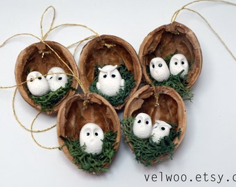 Owl Ornament set - Rustic Christmas Decorations - animal ornament- Walnut ornament- nutshell Christmas Tree Ornament- Christmas Ornament