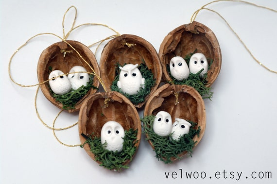 owl ornament set rustic christmas decorations animal ornament walnut ornament nutshell christmas - Rustic Christmas Decorations