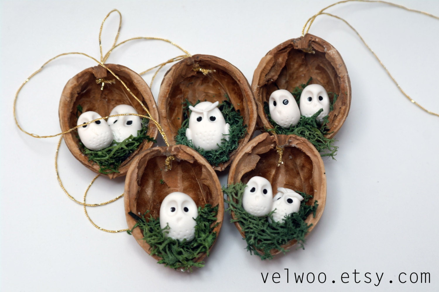 Owl ornament set rustic christmas decorations animal for Animal decoration
