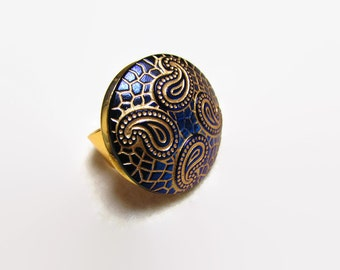 Adjustable Ring, Boho Ring, Paisley Ring, Glass Button Ring, Statement Ring, Blue Mosaic Ring