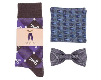Mens gift dress socks, silk pocket square and bow tie