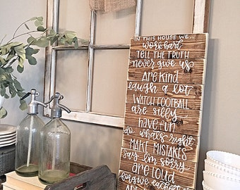 House Rules | Subway Art | Hand Painted | Rustic Home Decor | Wall Decor | Family | In This House
