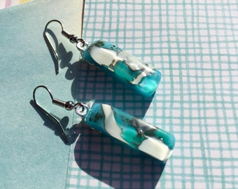Fused Glass Earrings in Reactive Glass