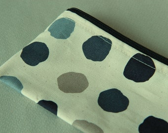 Hand printed Pencil pouch, zipper pouch, cosmetic pouch,cotton printed pouch #6