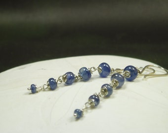 Genuine Blue Sapphire Earrings/ High Quality Blue Sapphire/ Sterling Silver/ September Birthstone