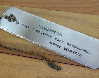 Albert Einstein Quote Stamped Metal Bookmark