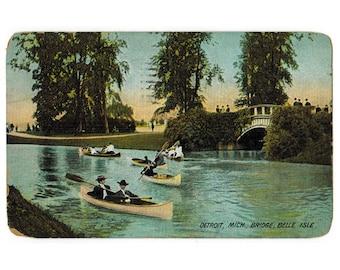 Belle Isle Park Detroit Michigan antique postcard   Detroit River   1900s MI travel souvenir, hometown decor, vacation scrapbook