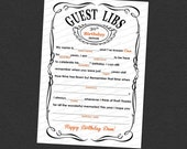 Guest Mad Libs Adult Birthday Printable 5 × 7 Customized - I Design, You Print