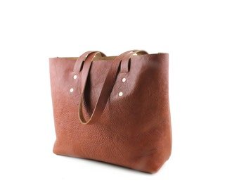 Brown leather shoulder bag, Veg tanned leather tote bag, Large leather tote bag, Copper Rivets & two internal pockets