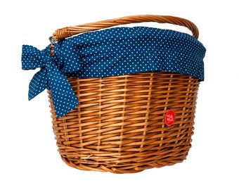 Classic Wicker Bike Basket with liner Polka Navy, Bike Belle