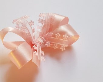 Pink Flower Hair Bow - Satin Bow - Girls Hair Bow - Toddler Hairbow -  Ribbon HairBow - Boutique Hair Bow - Hair Accessory -Little Hair Clip