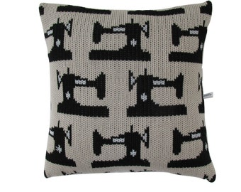 Vintage Sewing Machine Knitted Cushion Cover