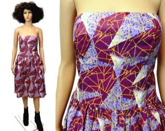 African Strapless Dress, African Wax Print Dress, Medium Large Minidress Mini Africa Clothing Tribal Ethnic Cotton Abstract Princess Dress