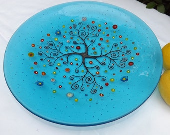 Fused glass bowl Tree of Life