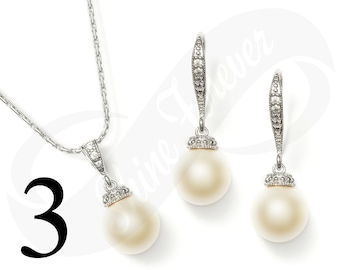 Set of 3 Bridal Jewelry Set Earring and Necklace Set Bridesmaid Jewelry Set Pearl Set Wedding Jewelry Set Bridal Jewlery Set Pearl Sets