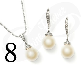 Set of 8 Bridal Jewelry Set Earring and Necklace Set Bridesmaid Jewelry Set Pearl Set Wedding Jewelry Set Bridal Jewlery Set Pearl Sets
