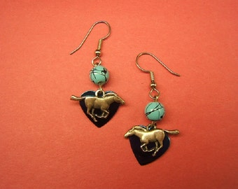 Valentine's Earrings, Horse Earrings, Horse Jewelry, Equestrian, Accessories, Cowgirl Earrings, Boho Chic, silver, turquoise bead,  #80127-1