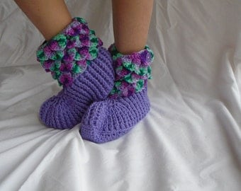 Crochet Crocodile Bootie slippers, Adult, Custom made, 50+ colors, crochet slippers, warm footwear, adult slippers, Adult booties, crocodile