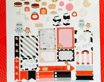 Milk and Cookies Weekly Planner Stickers Set, for use with  Erin Condren Life Planner, Happy Planner