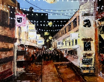 Original Acrylic of Cathedral Quarter, Belfast, Northern Ireland.  Duke of York.  Free UK postage!