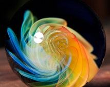 "FREE SHIPPING 1.63"" Handmade Marble by ~Ethan Lesch~  Borosilicate, Boro, Art glass, MIB"