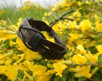 Brown braided leather mens bracelet Daedal, leather bracelet, mens leather bracelet, braided leather bracelet,