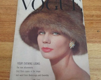 Vintage 1960 Vogue Magazine Beauty Fashion Glamour Givenchy Balenciaga
