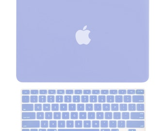 "2 in 1 Air 13-Inch Rubberized Hard Case Cover and Keyboard Cover for MacBook Air 13"" Model: A1369 and A1466 - Serenity Blue"
