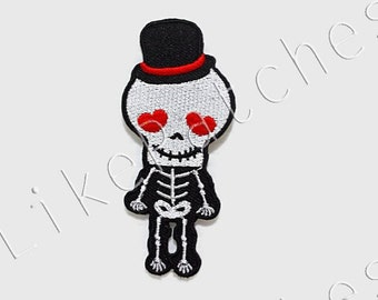 Funny Human Skeleton Ghost Skull Body New Sew / Iron On Patch Embroidered Applique Size 3.5cm.x8cm.