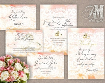 Personalised/Customised Wedding Invitations, Save the Date, RSVP, Thank you cards, Table numbers, Place cards