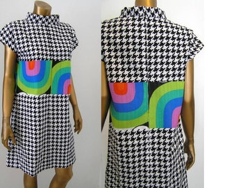 Mod super graphic color block mini dress.  From 1960s pattern.  Sm Med