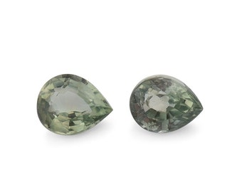Green Sapphire Loose Gemstones Pear Cut Set of 2 1A Quality 5x4mm TGW 0.65 cts.