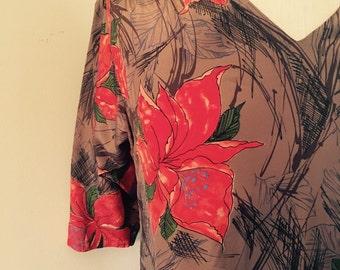 Vintage dress, floral dress, brown vintage dress