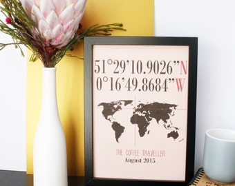 Personalised Anniversary Gift 'Longitude And Latitude' A4 Wall Art Print