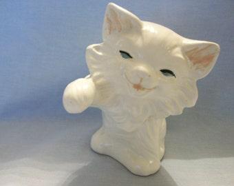 White Cat Ceramic Figurine
