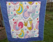 Patchwork  quilt. Childs bed or lap quilt size. Cornflower/multicoloured. Bright, vibrant colours. Bird design. Ready to post. Free P&P