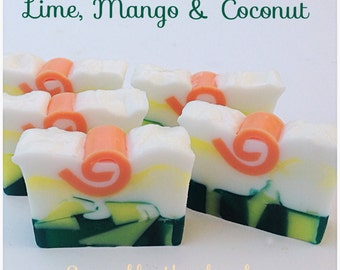 NEW! Lime, Mango, and Coconut scented soap,  Desert Island, decorative handmade soap