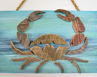 Crab Barn Wood Wall Decor Ocean Acquatic Beach Theme Sea Life Nautical Reclaimed Lumber Art Custom Made