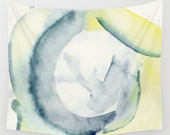 "Wall tapestry with fine art print. Minimal abstract watercolor painting in soft pastel colors on white ""Forgotten Bough"" Watercolor tapestry"
