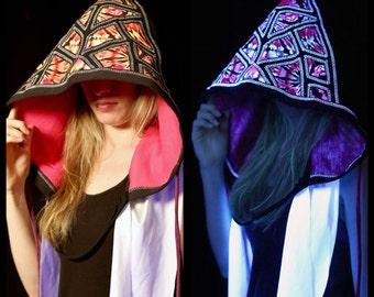 Geometric Hood UV Reactive Hot Pink and White Tie Dye