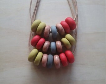Various Earthy Tones of Polymer Clay Necklaces