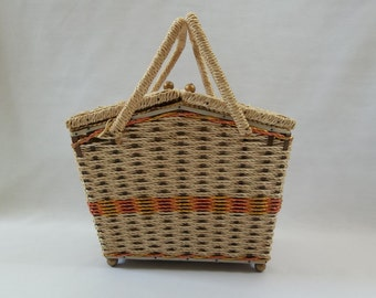 Vintage, Made in Japan, Wicker Sewing box with Music box, Used to Play An Affair to Remember, Collectible Basket, Antique Sewing Basket