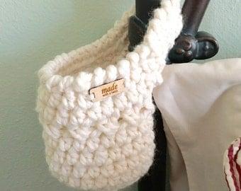 Crochet Hanging Basket - Hanging Basket - Bedpost Basket - Stairway Basket - Door Knob Basket - ...