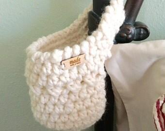 Crochet Hanging Basket - Hanging Basket - Bedpost Basket - Stairway Basket - Door Knob Basket - Home Decor - Storage Solutions
