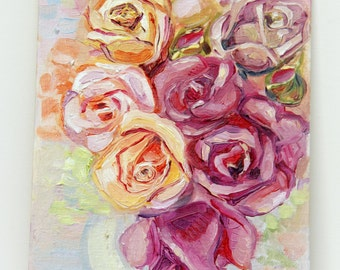 oil painting flowers, oil painting pink roses, oil painting bouquet, oil painting roses,  gift for her, painting roses, bunch flowers,