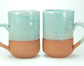 Couple Cup, Turquoise cup, large coffee mug, mug set, coffee mug set, best christmas gift, coffee cup, latte mug, clay mug, his and hers mug
