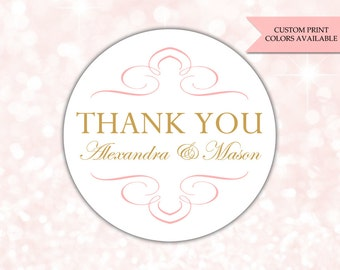 Thank you stickers - Wedding stickers - Wedding favor labels - Wedding thank you stickers (RW064)