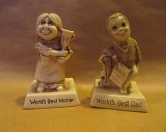 Vintage 1970s R & W Berries Co's World's Best Mother and World's Best Dad Statues