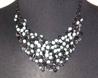 clustered crystal necklace - mint